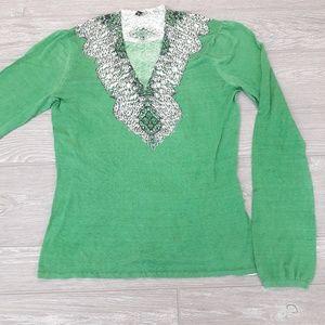 Tahari green v neck blouse